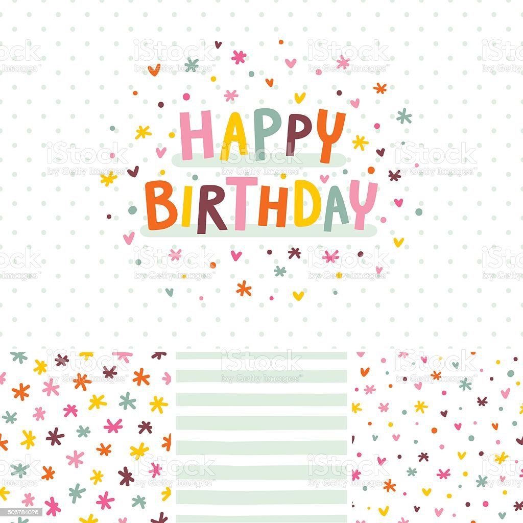 Birthday card and seamless patterns set vector art illustration
