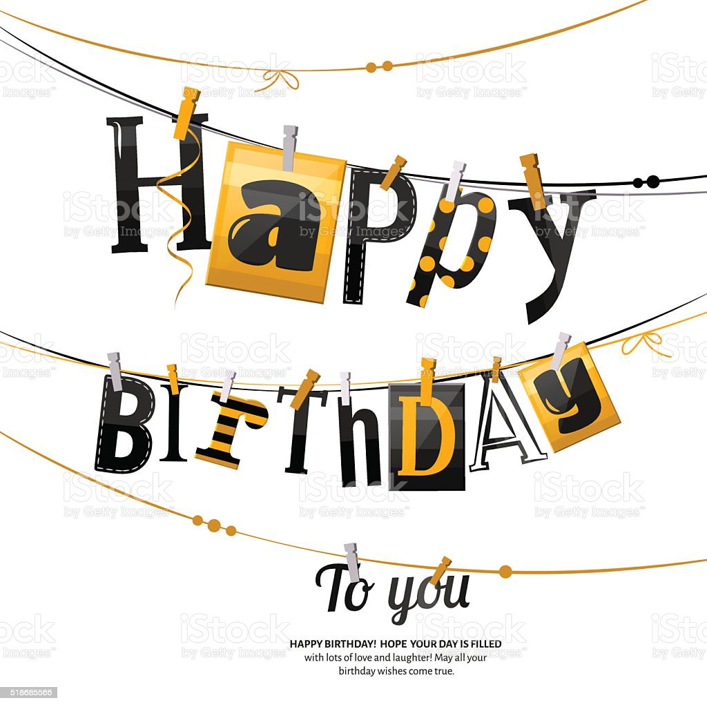 Birthday card. Clothespin and colorful letters hang on rope. Vector vector art illustration