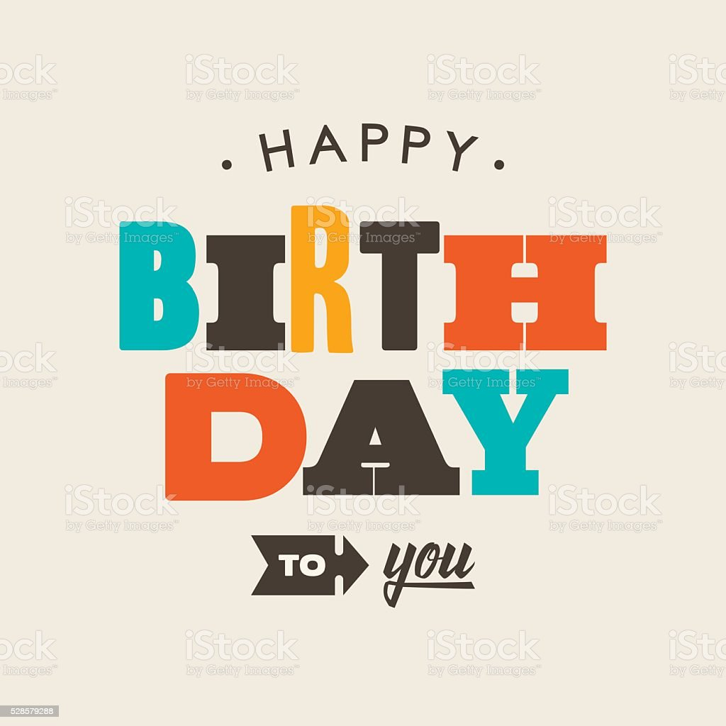 Birthday card letterpress. vector art illustration