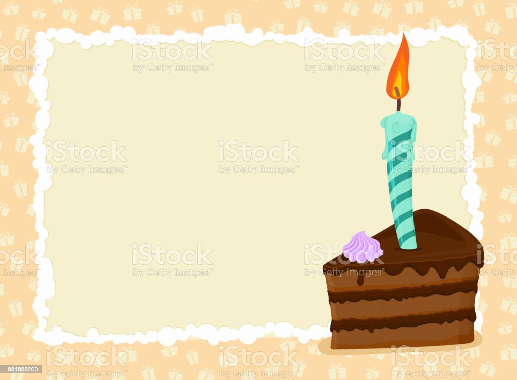 Birthday card. Piece of cake and candle. Holiday greeting template vector art illustration