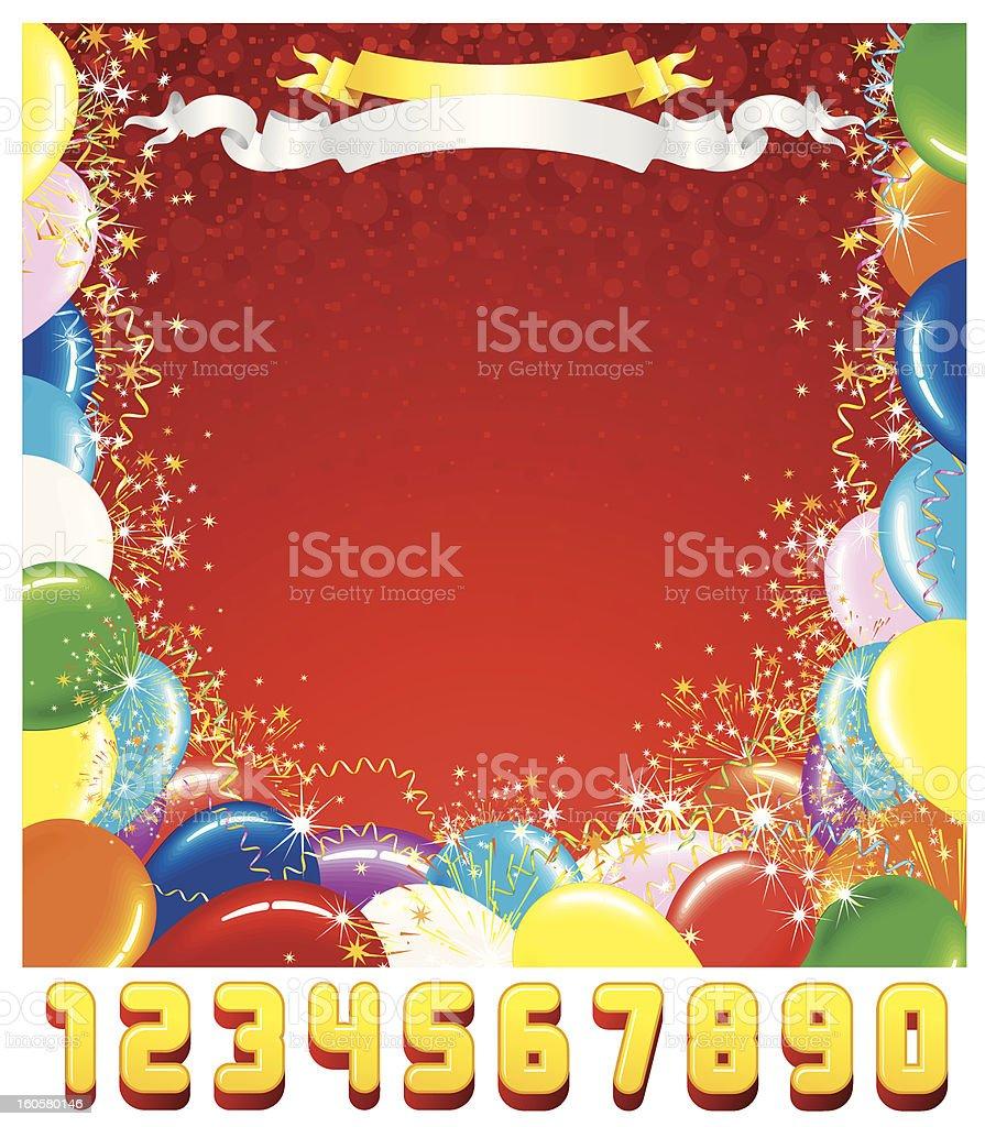 Birthday Card Template. Vector Graphics royalty-free stock vector art