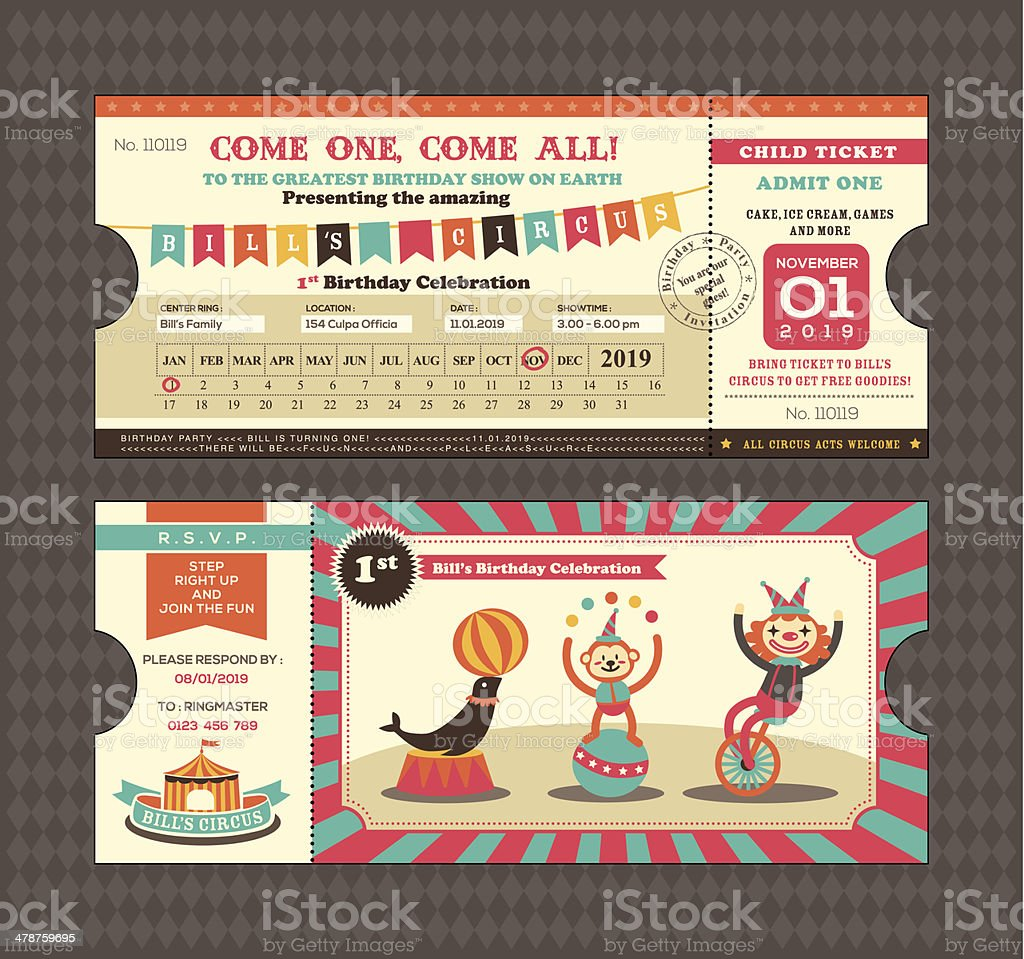 Birthday card Ticket style vector art illustration