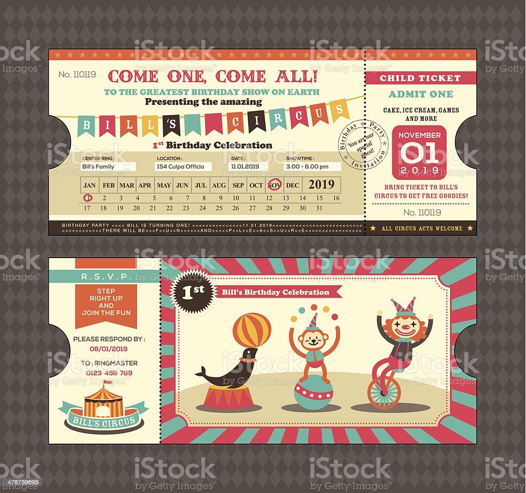 Birthday card Ticket style vector art illustration