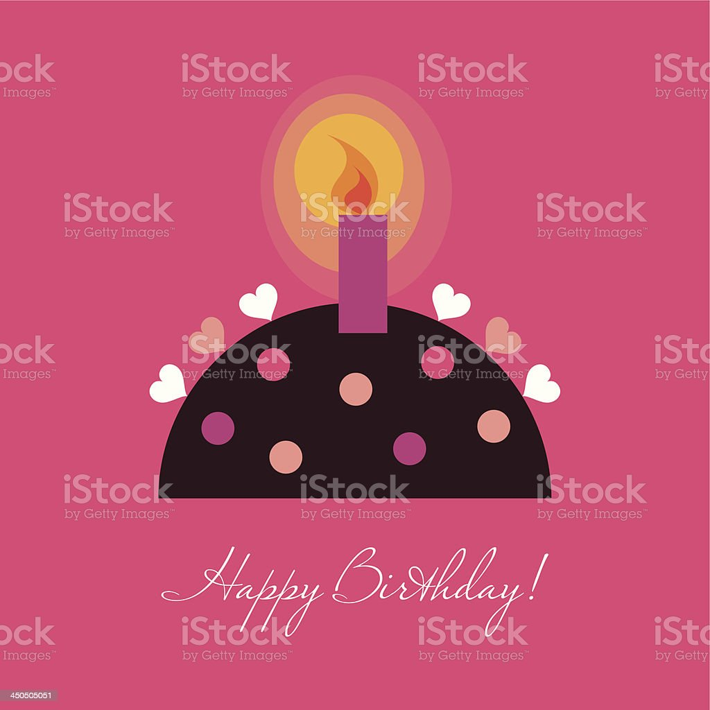 Birthday card with a candle royalty-free stock vector art