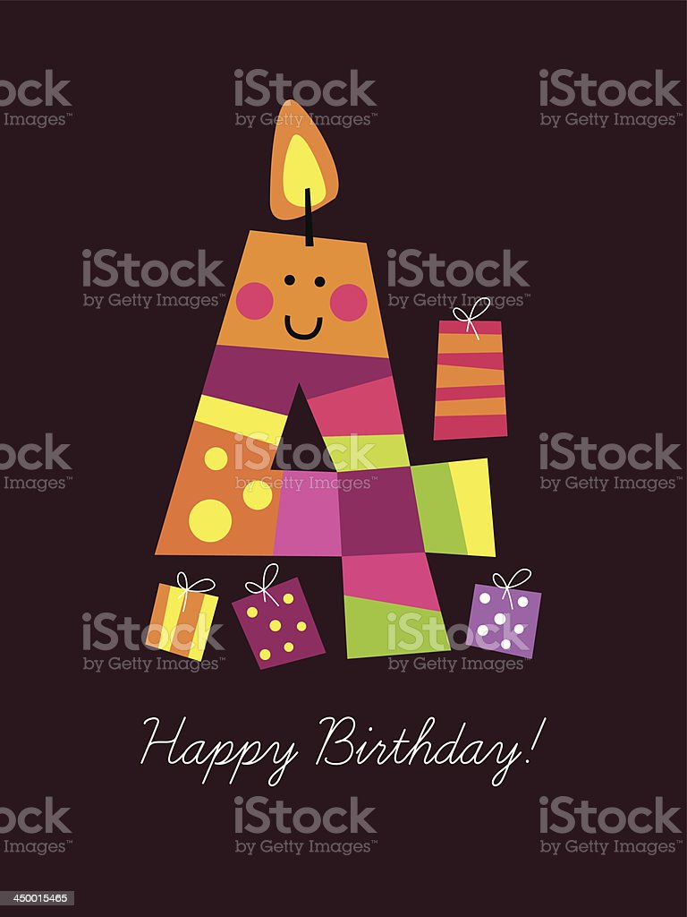 Birthday card with a funny candle royalty-free stock vector art