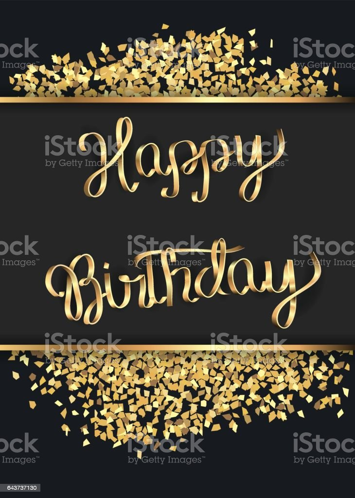 Birthday card with a gold inscription.Vector illustration.