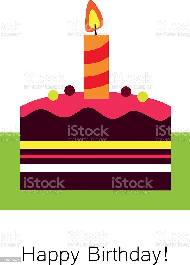 Birthday card with a simple illustration of a cake royalty-free stock vector art