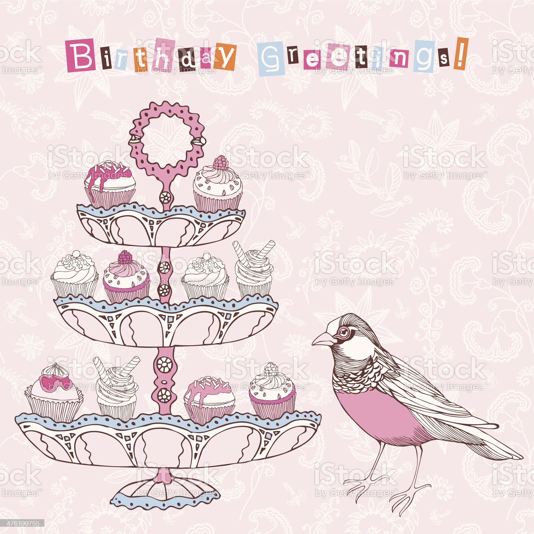 Birthday card with bird and cupcakes. royalty-free stock vector art