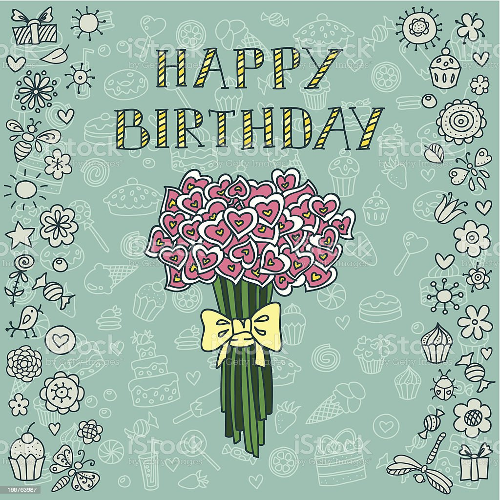 Birthday card with bouquet royalty-free stock vector art