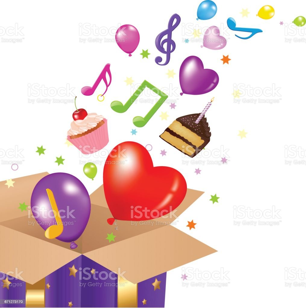 Birthday Card With Box vector art illustration