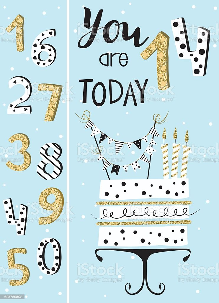 Birthday card with cake , numbers of years vector art illustration