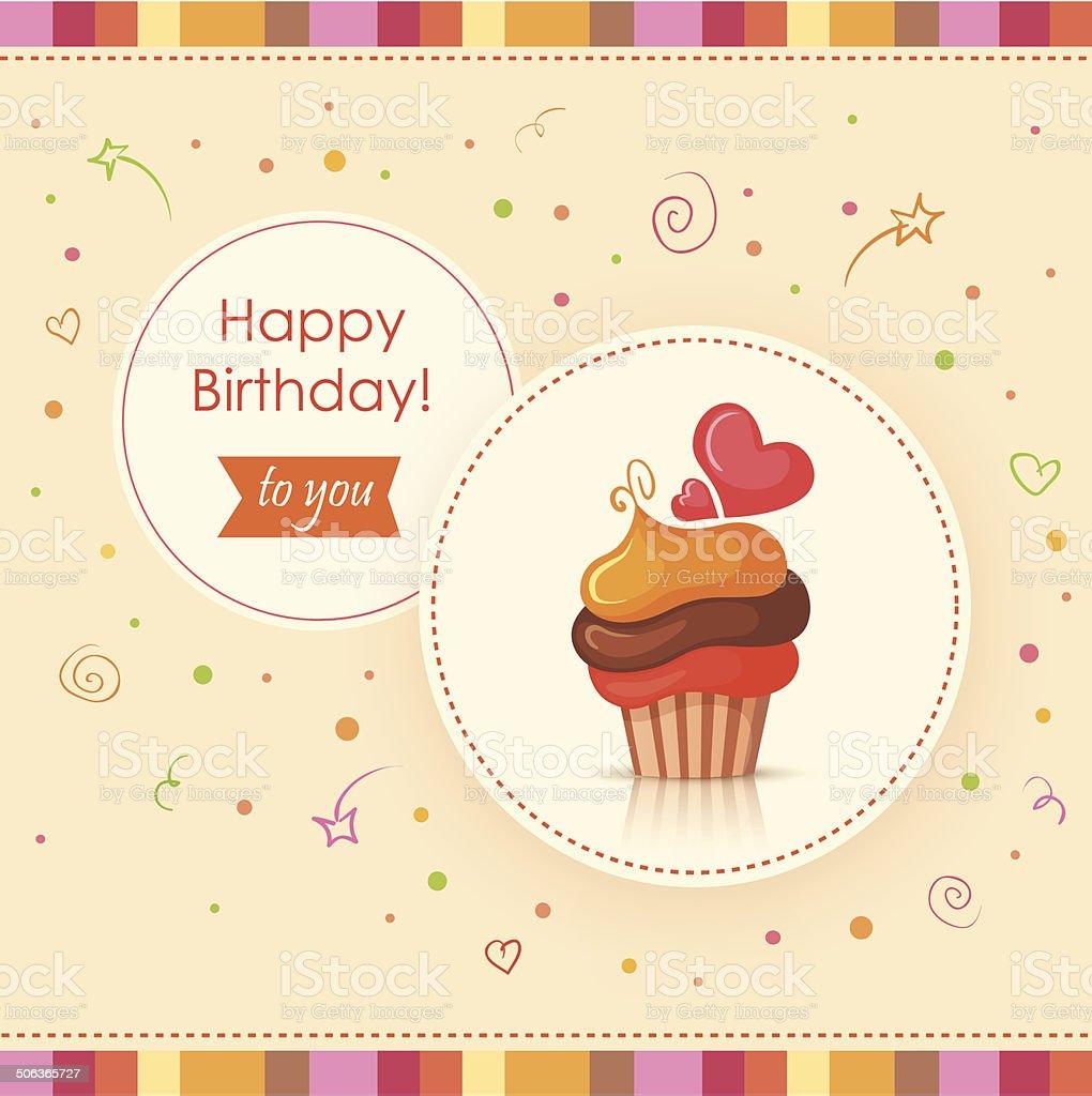 Birthday card with cake vector art illustration