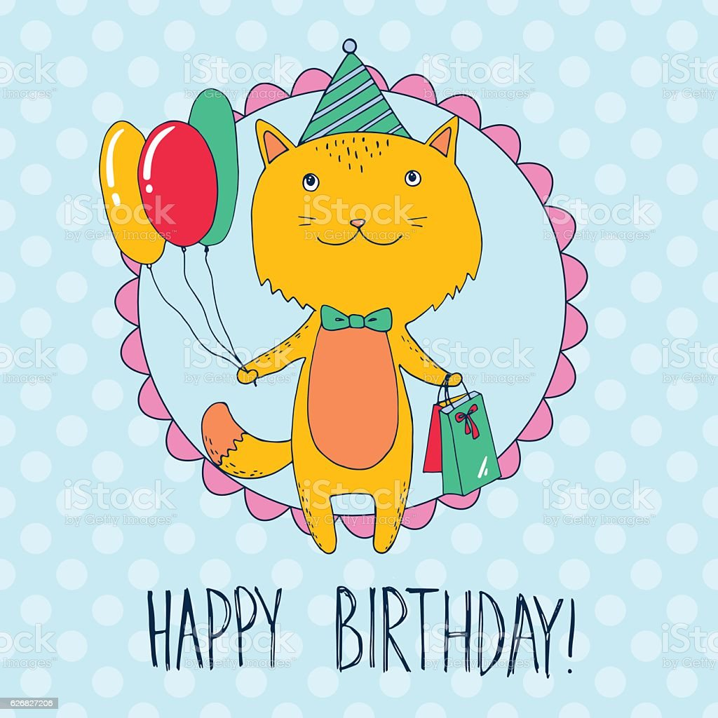 Birthday card with cat with presents and balloons vector art illustration