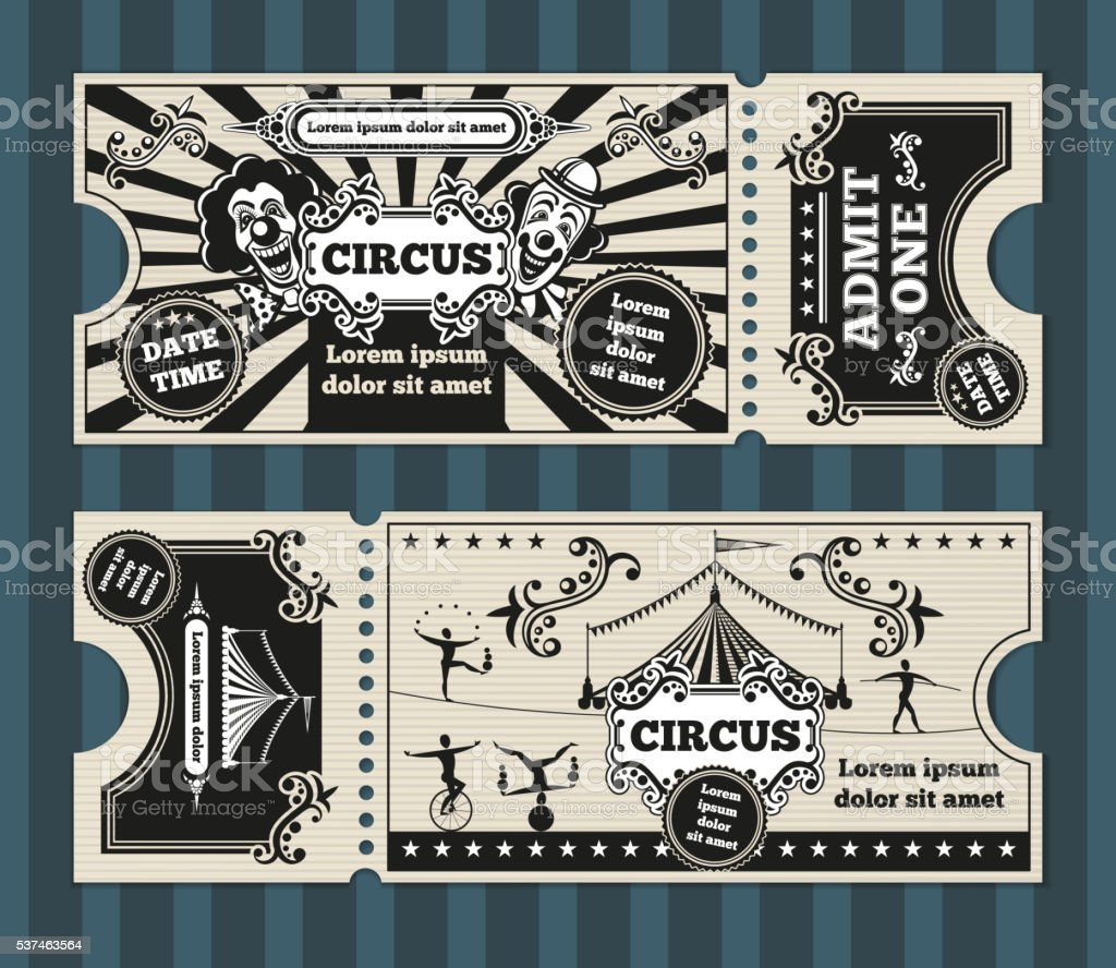 Birthday card with circus tickets vector template vector art illustration