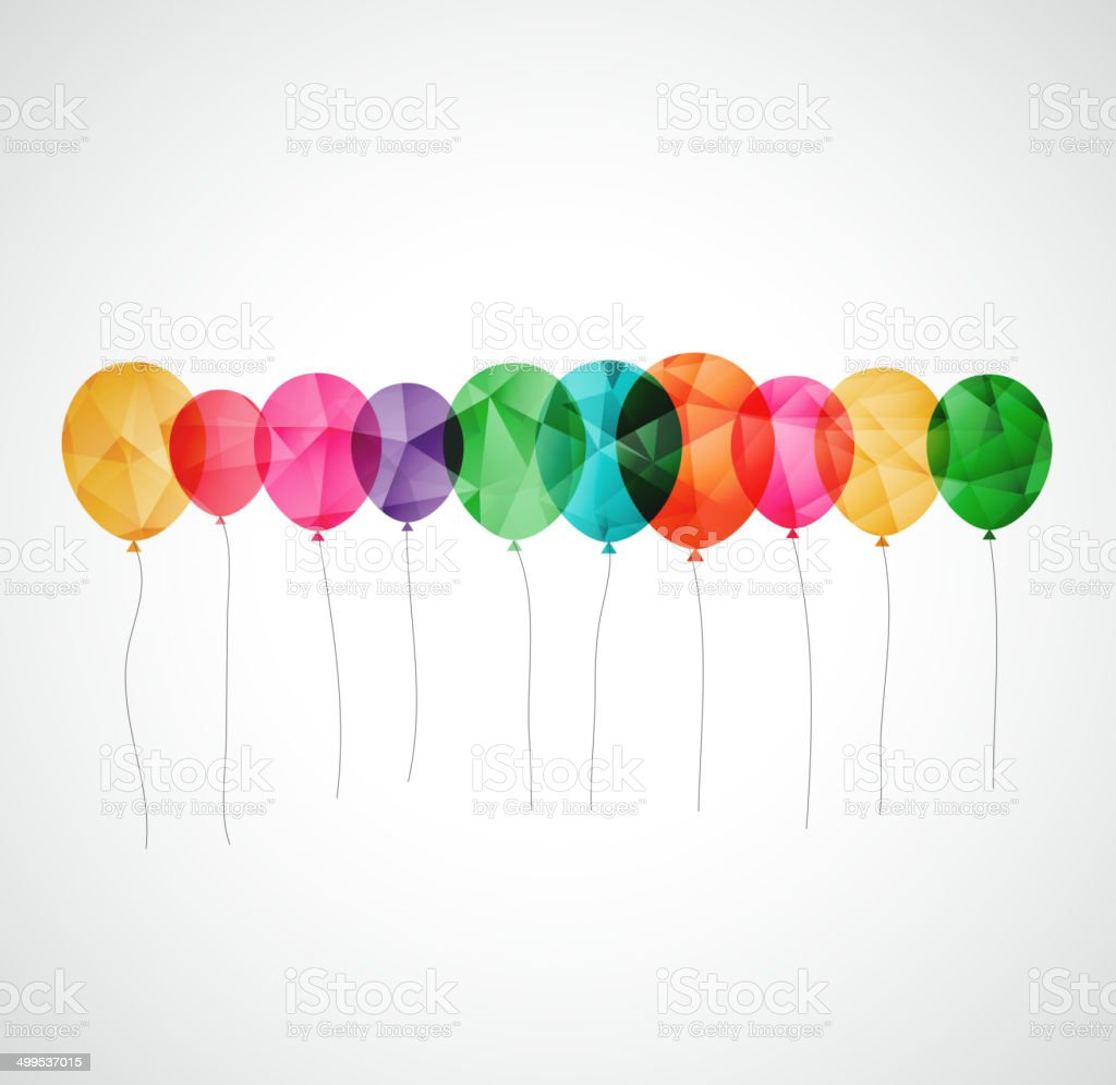 Birthday card with colorful transparent  balloons vector art illustration