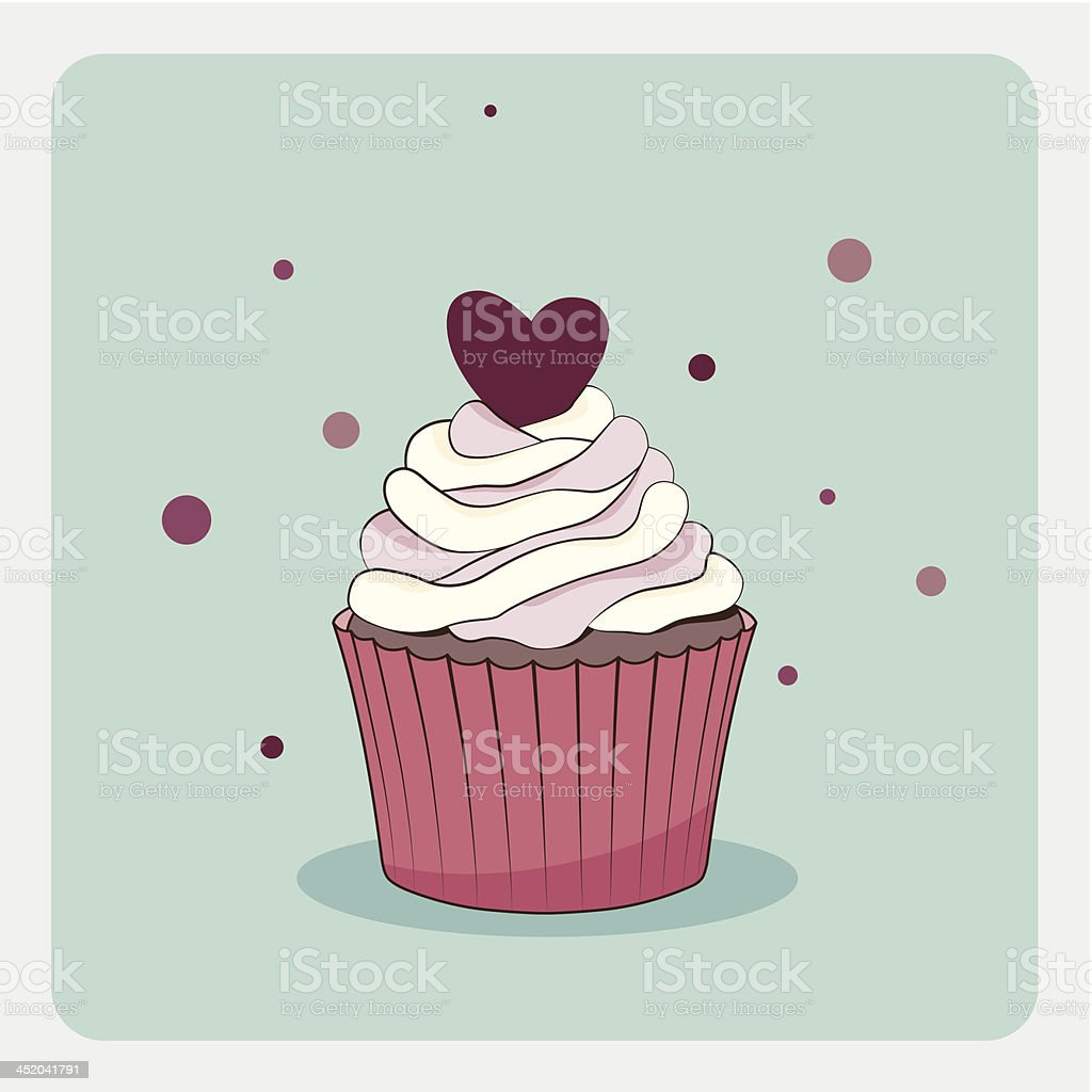 Birthday card with cupcake royalty-free stock vector art