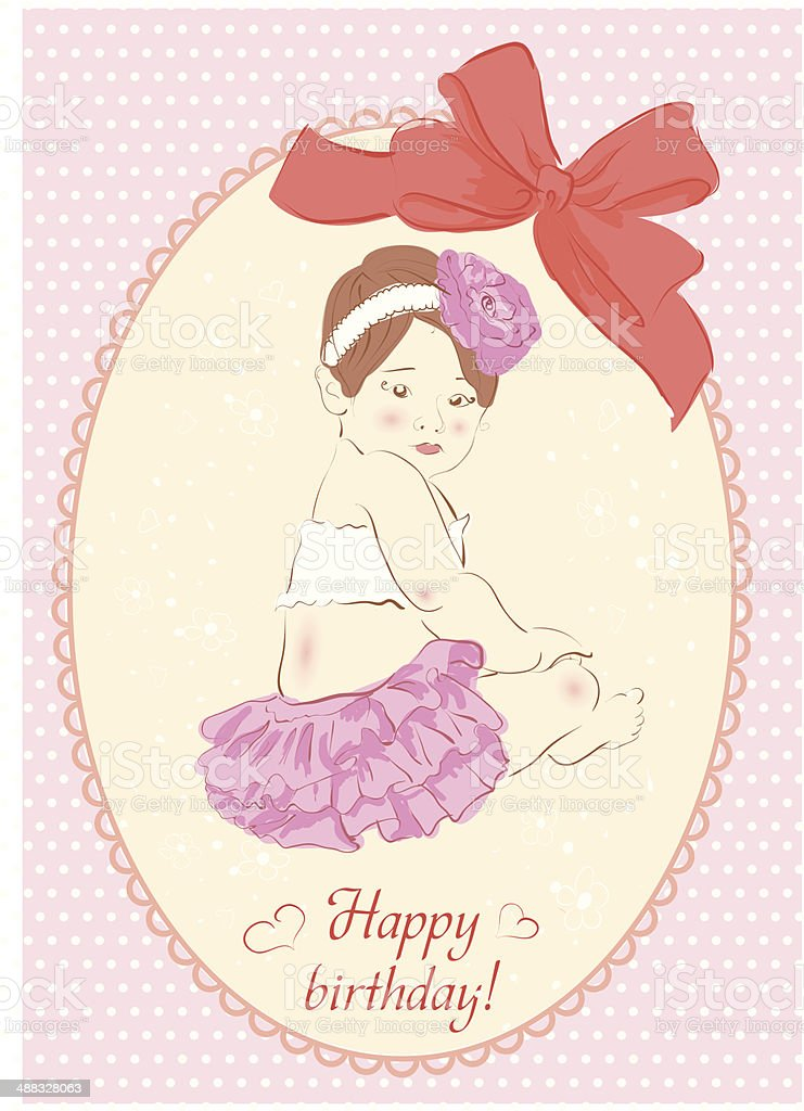 Birthday card with girl. Vector illustration royalty-free stock vector art