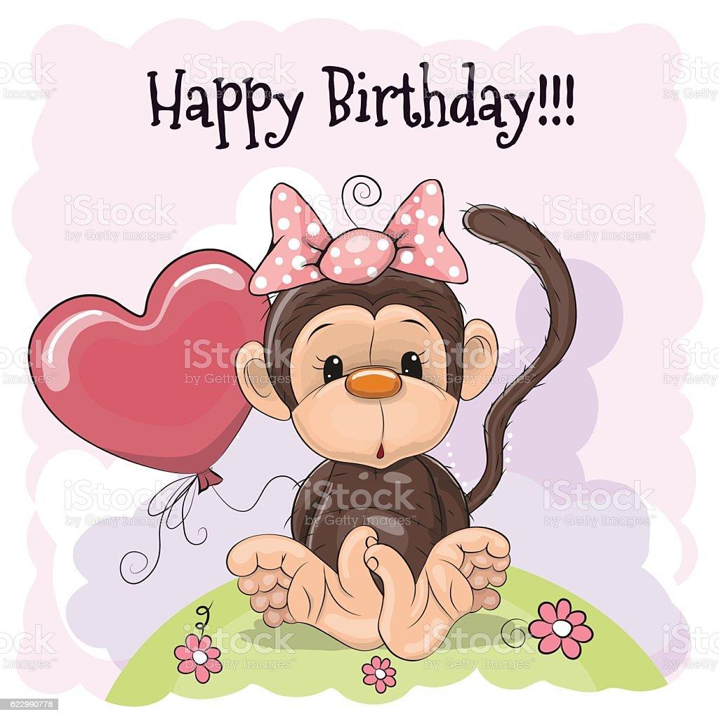 Birthday Card With Monkey stock vector art 622990778 – Monkey Birthday Card