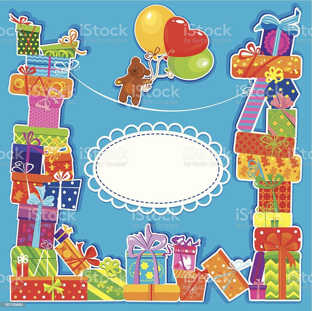 birthday card with teddy bear for boy royalty-free stock vector art