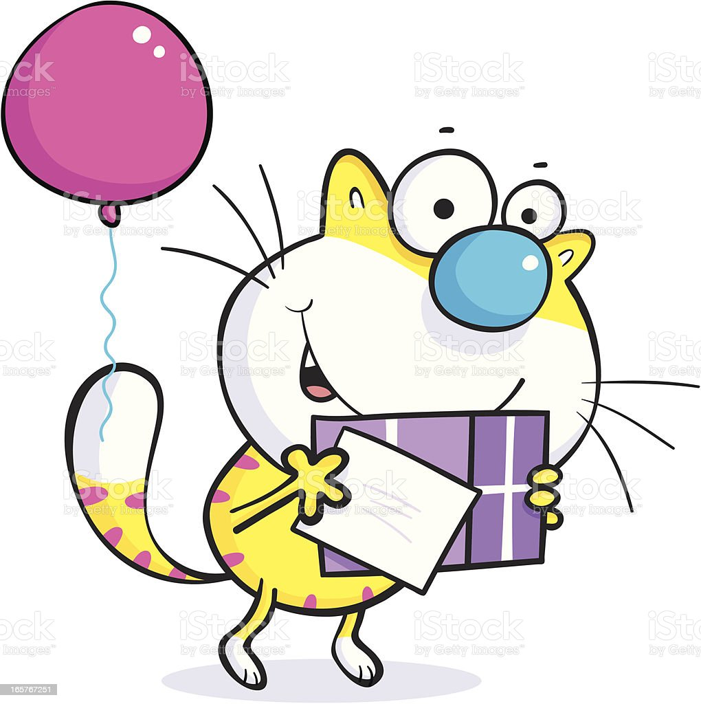 Birthday cat with gift royalty-free stock vector art