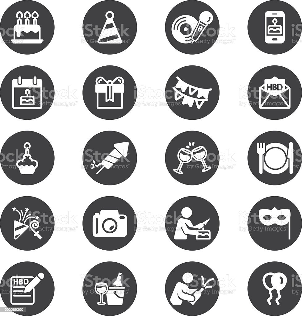Birthday Celebration and Party Circle Silhouette icons   EPS10 vector art illustration
