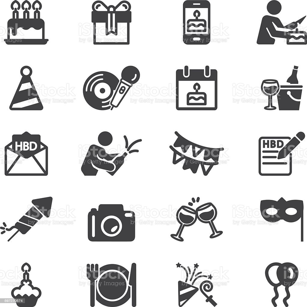 Birthday Celebration and Party Silhouette Icons   EPS10 vector art illustration