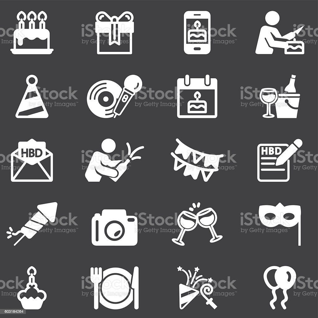 Birthday Celebration and Party White Silhouette icons   EPS10 vector art illustration