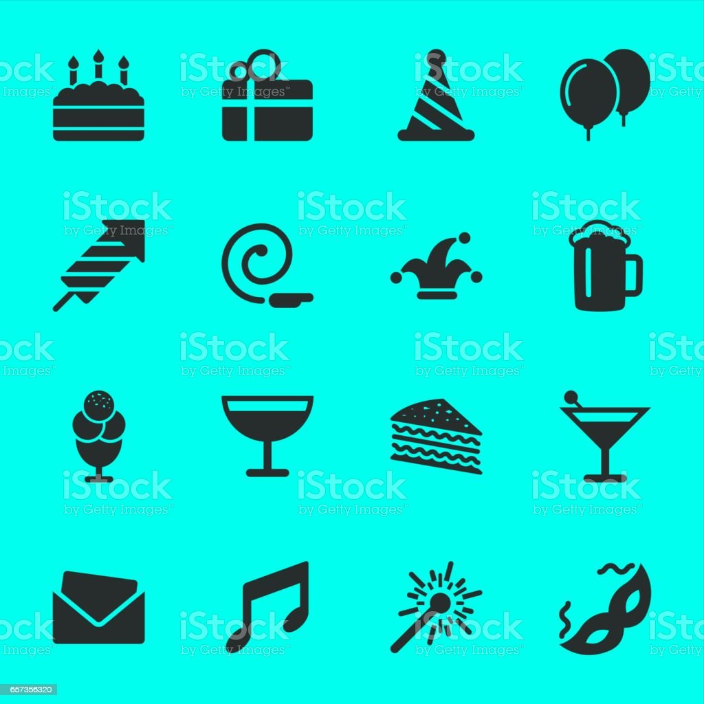 Birthday Celebrations Party Icons vector art illustration