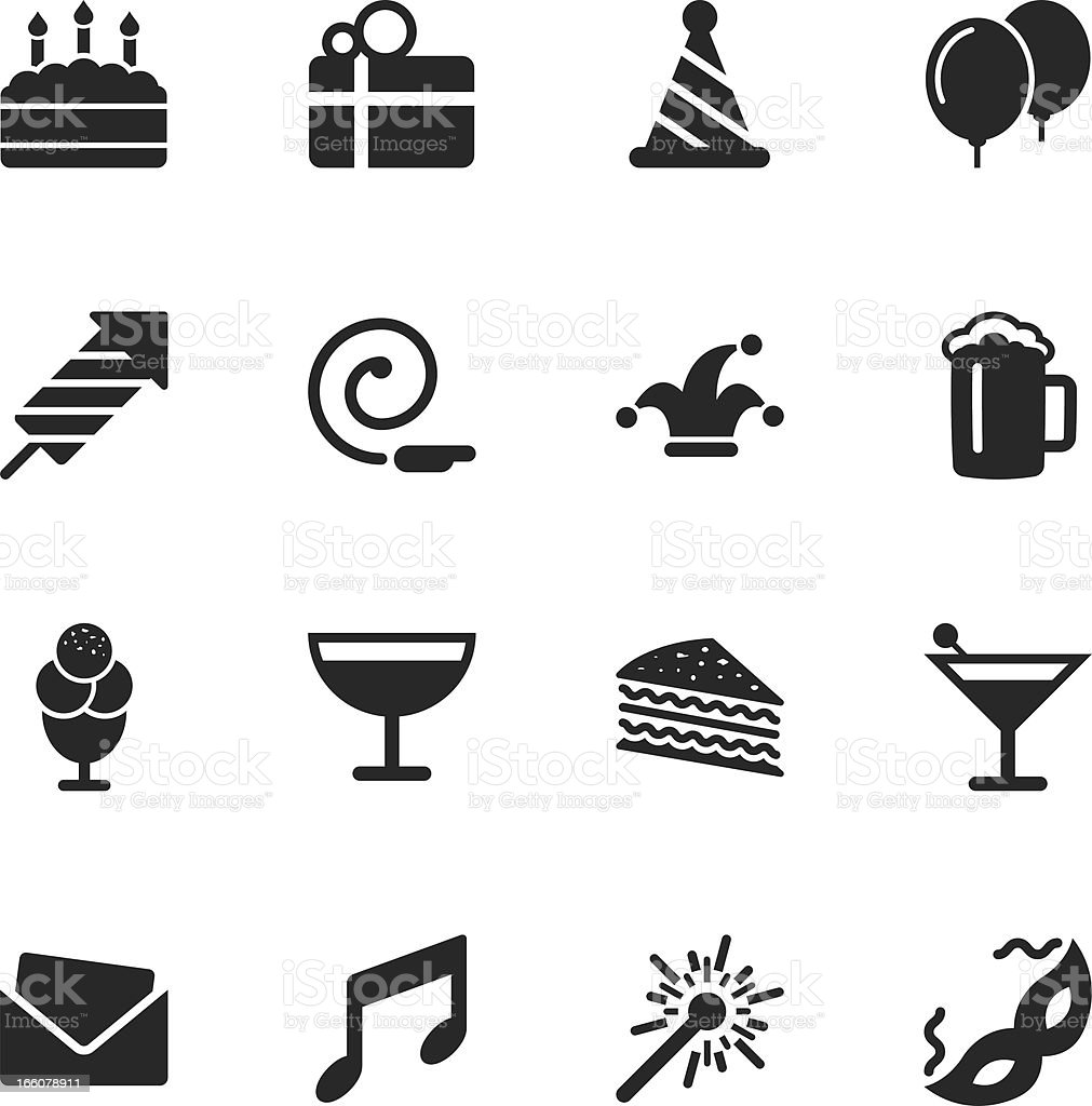 Birthday Celebrations Party Silhouette Icons vector art illustration