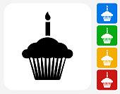 Birthday Cupcake Icon Flat Graphic Design