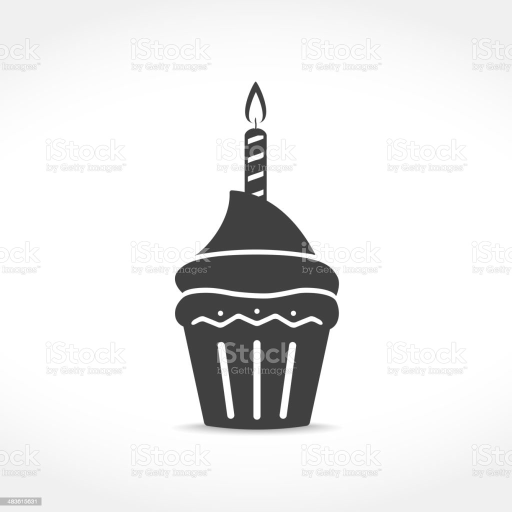 Birthday Cupcake Icon vector art illustration