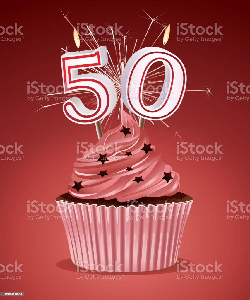 Birthday cupcake vector art illustration