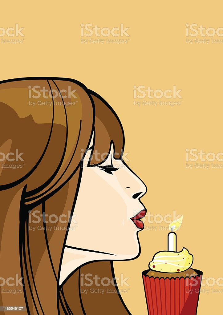 Birthday cupcake vector art illustration
