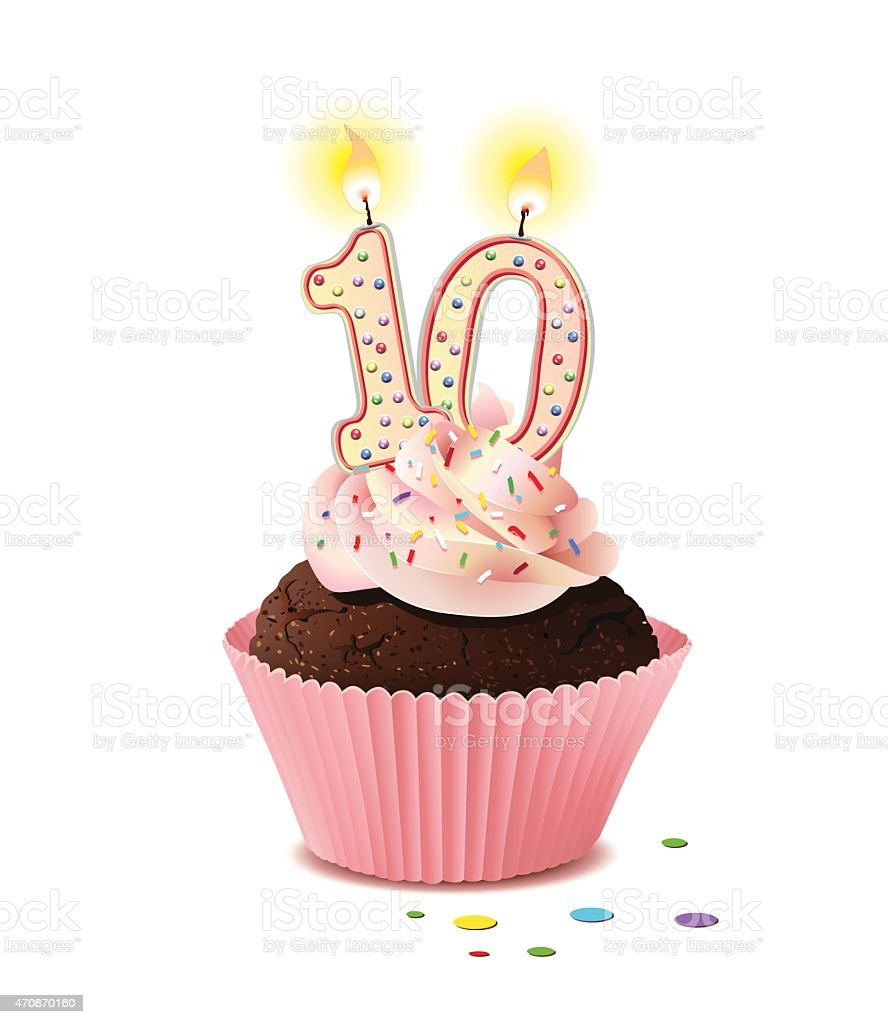 Birthday cupcake with candle number 10 vector art illustration
