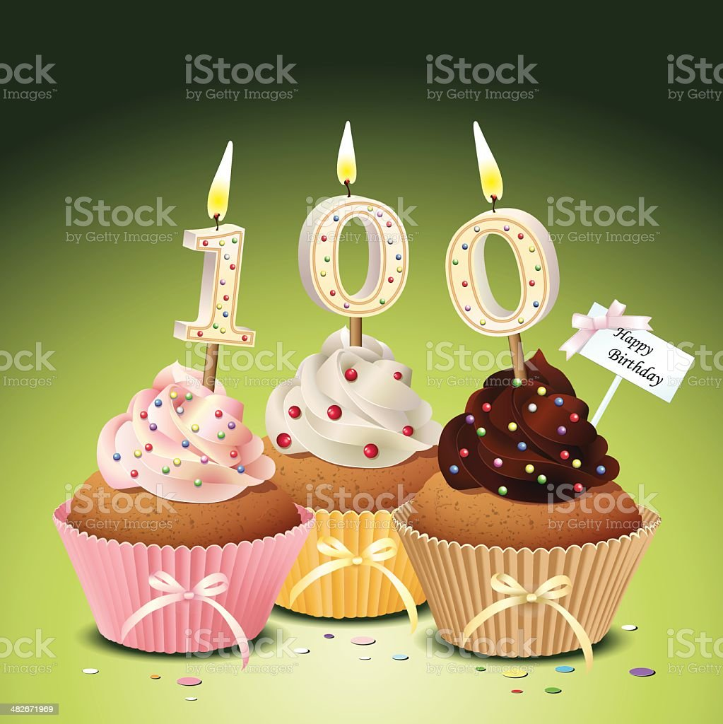 Birthday cupcake with candle number 100 vector art illustration