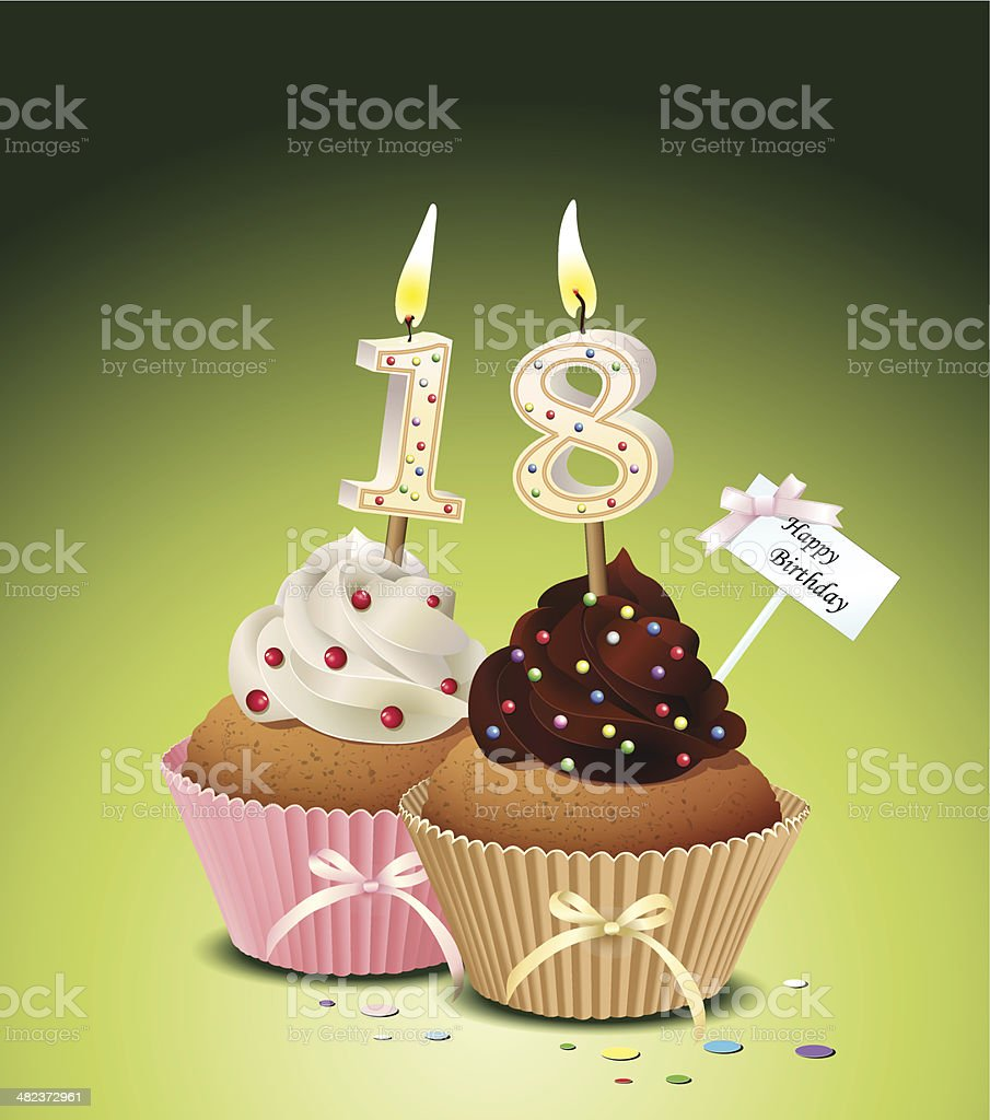 Birthday cupcake with candle number 18 vector art illustration