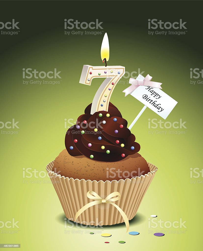 Birthday cupcake with candle number 7 vector art illustration