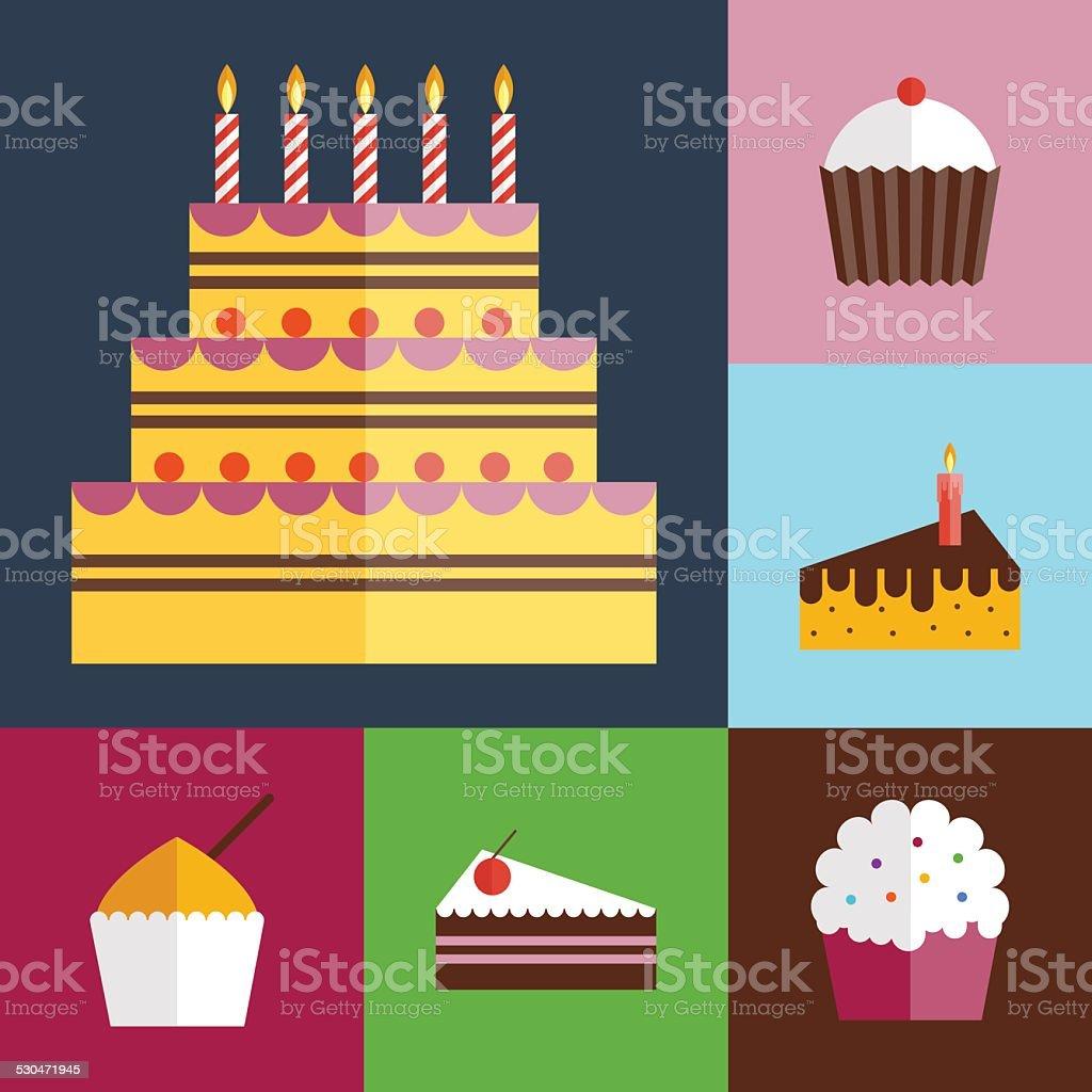 Birthday cupcakes icons set vector art illustration