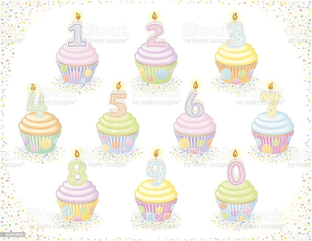 Birthday Cupcakes - Pastel version royalty-free stock vector art