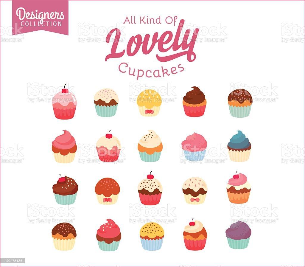Birthday Cupcakes vector art illustration