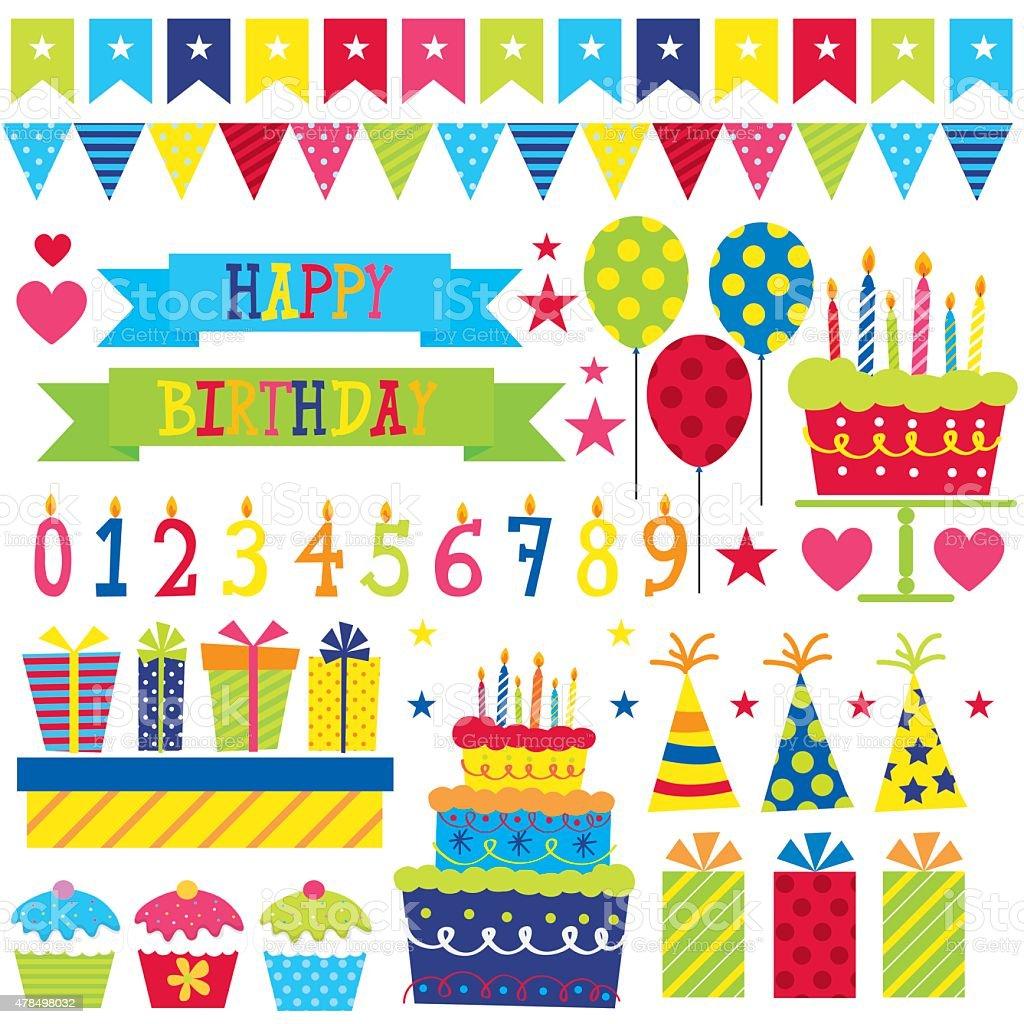 Birthday Decorations vector art illustration