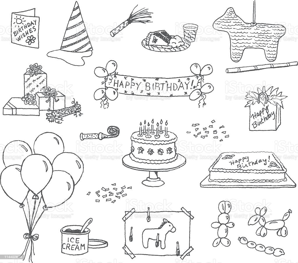 Birthday Doodles vector art illustration