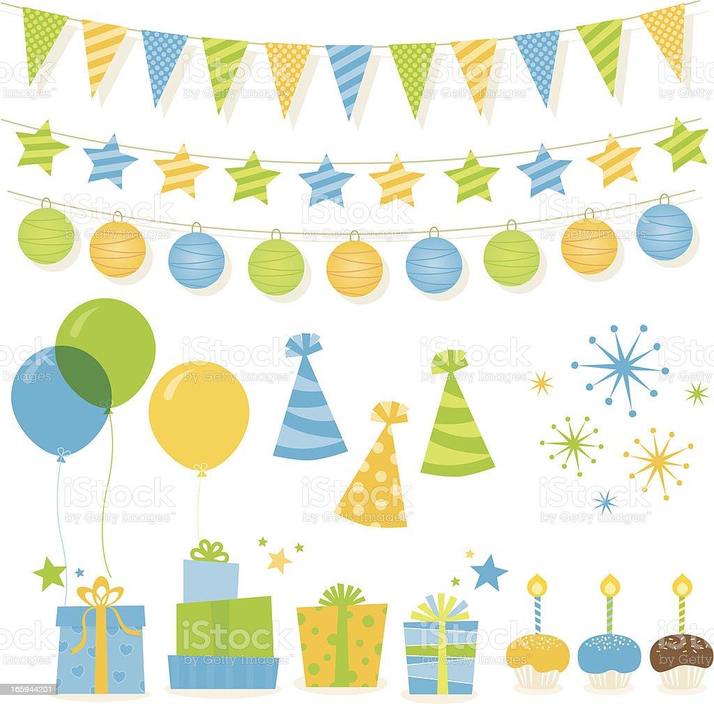 Birthday Elements - Green & Blue vector art illustration