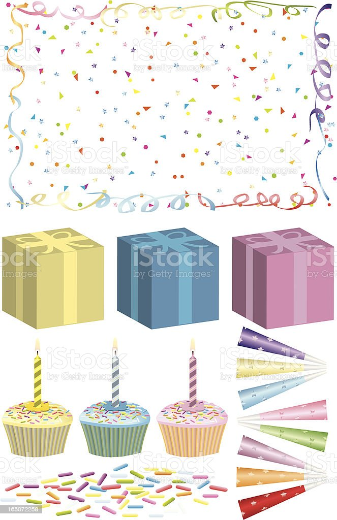 Birthday Elements vector art illustration