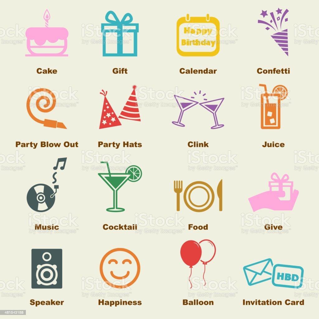 birthday elements vector art illustration