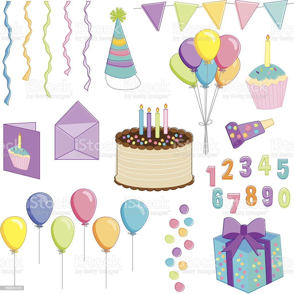Birthday Essentials royalty-free stock vector art