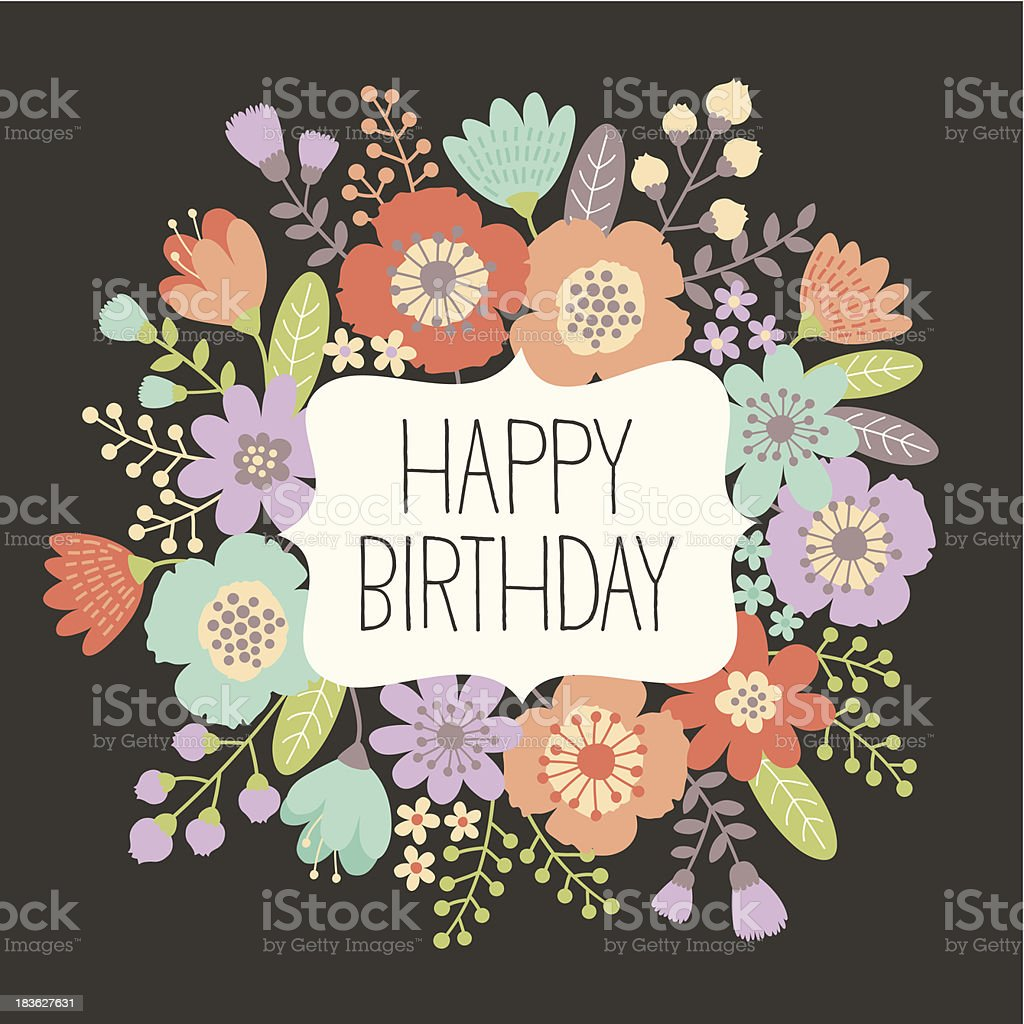 Birthday floral card vector art illustration