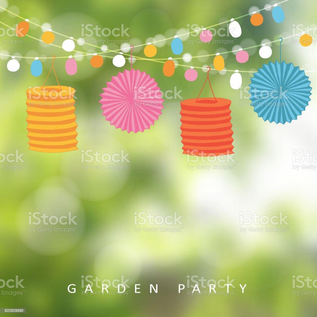 Birthday garden party, Brazilian june party, lights, paper lanterns vector art illustration