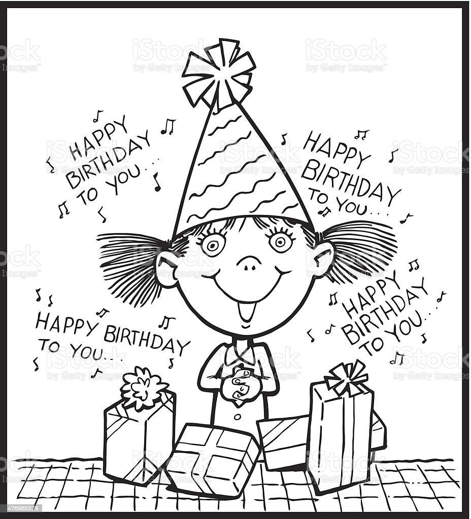 Birthday Girl vector art illustration