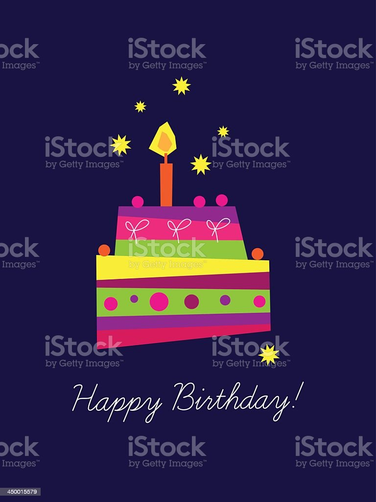 Birthday graphic with multicolored cake royalty-free stock vector art